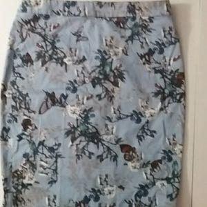 J.Crew butterfly / bird print pencil skirt
